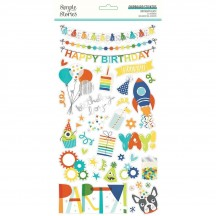 Simple Stories Birthday Blast Self Adhesive Chipboard Shape Stickers 12815