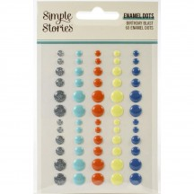 Simple Stories Birthday Blast Enamel Dots silver glitter turquoise orange yellow blue 12826
