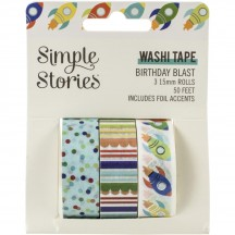 Simple Stories Birthday Blast Washi Tape 3 Roll Pack 12819