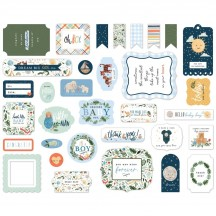 Echo Park Welcome Baby Boy Ephemera Die Cut Cardstock Pieces WBB234024