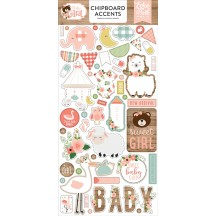 Echo Park Baby Girl Self Adhesive Chipboard Accents Stickers BAG202021