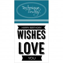 "Technique Tuesday Happy Birthday Wishes Mini Sentiments 2""x2.5"" Clear Stamp Set"
