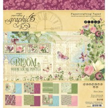 "Graphic 45 Bloom Designer 8""x8"" Paper Pad 24 sheets 4501870"