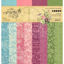 """Graphic 45 Bloom Patterns & Solids 12""""x12"""" Paper Pad 16 sheets 4501872"""