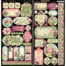 "Graphic 45 Bloom 12""x12"" Die-cut Cardstock Element Stickers 4501875"