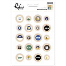 Pinkfresh Studio Boys Fort Wood Button Stickers PFRC400817