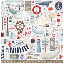 "Carta Bella By the Sea 12""x12"" Die-cut Cardstock Element Stickers BS120014"