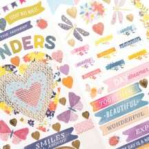"""American Crafts Paige Evans Wonders 6""""x12"""" Accent & Phrase Stickers 34004823"""