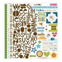 "Bella Blvd Campout 12""x12"" Treasures & Text Stickers 878"