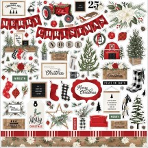 "Carta Bella Farmhouse Christmas 12""x12"" Die-cut Cardstock Element Stickers FAC123014"