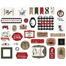 Carta Bella Farmhouse Christmas Ephemera Die Cut Cardstock Pieces FAC123024