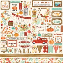 "Carta Bella Fall Market 12""x12"" Die-cut Cardstock Element Stickers AM105014"