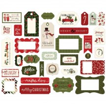 Carta Bella Hello Christmas Frames & Tags Ephemera Die Cut Cardstock Pieces CBHC124025