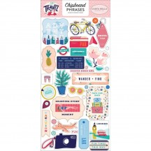 Carta Bella Let's Travel Self Adhesive Chipboard Phrases Stickers LT100022
