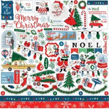 "Carta Bella Merry Christmas 12""x12"" Die-cut Cardstock Element Stickers MC107014"