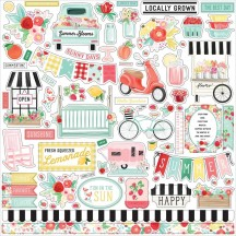 "Carta Bella Summer Market 12""x12"" Die-cut Cardstock Element Stickers SUM115014"