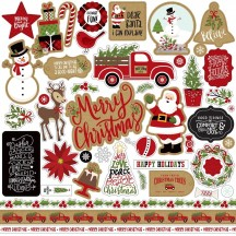 "Echo Park Celebrate Christmas 12""x12"" Element Shape Stickers CCH159014"