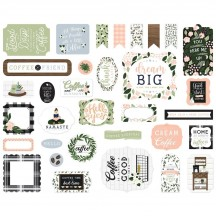 Echo Park Coffee & Friends Ephemera Die Cut Cardstock Pieces CF230024