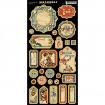 Graphic 45 Good Ol' Sport 1 Die-Cut Chipboard Elements Sheet 4500871
