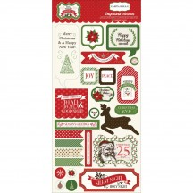 Carta Bella Have a Merry Christmas Self Adhesive Chipboard Accent Shape Stickers HMC45017