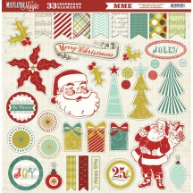"My Mind's Eye Mistletoe Magic Christmas 12""x12"" Adhesive Chipboard Elements MM1012"