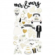 Simple Stories Always & Forever Wedding Self Adhesive Chipboard Shape Stickers 10073
