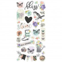 Simple Stories Bliss Self Adhesive Chipboard Shape Stickers 10020