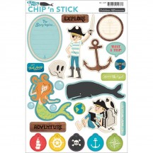 October Afternoon Treasure Map Printed Chip 'n Stick Shape Stickers CB-1277