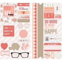"""Teresa Collins You Are My Happy 12""""x12"""" Adhesive Chipboard Elements YMH116"""