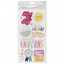 American Crafts Dear Lizzy Stay Colorful Groovy Chipboard Phrase & Accent Thickers 346488