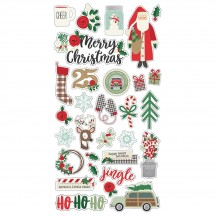 Simple Stories Merry & Bright Christmas Self Adhesive Chipboard Shape Stickers 10320