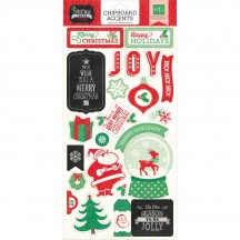 Echo Park Christmas Cheer Self Adhesive Chipboard Shape Stickers CC72022