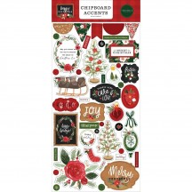 Carta Bella Happy Christmas Self Adhesive Chipboard Accents Stickers XM140021