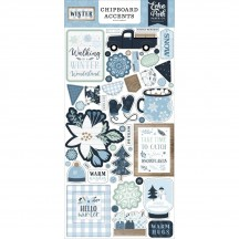 Echo Park Winter Self Adhesive Chipboard Accents Stickers WTR257021