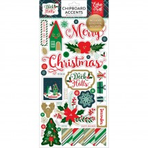 Echo Park Deck The Halls Self Adhesive Christmas Chipboard Shape Stickers DH116022