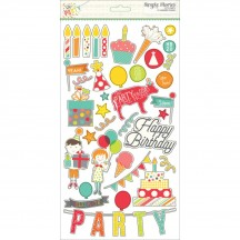 Simple Stories Let's Party Self Adhesive Chipboard Shape Stickers 5328