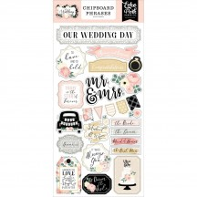 Echo Park Wedding Self Adhesive Chipboard Phrases Stickers WED258022