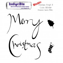 IndigoBlu Christmas Script 2 Dinkie Christmas Cling Mounted Rubber Stamp IND0129