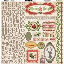 "Bo Bunny Christmas Collage 12""x12"" Element & Alphabet Combo Stickers 16603471"