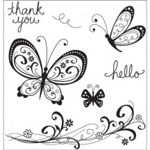 Hampton Art Cirlique Butterflies Cling Stamps by Kelly Panacci IC0043