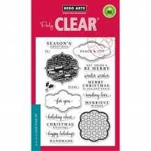 """Hero Arts Holiday Messages and Frames 4""""x6"""" Clear Christmas Stamp Set CL983"""