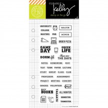 "Hero Arts Clearly Kelly College Life Planner 2.5""x6"" Clear Stamp Set CM112"