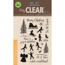 """Hero Arts Winter Silhouettes 4""""x6"""" Clear Christmas Stamp Set CM179"""