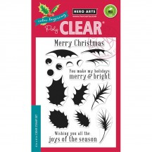 """Hero Arts Color Layering Holly 4""""x6"""" Clear Christmas Stamp Set CM180"""