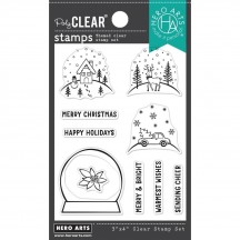 """Hero Arts Make Your Own Snow Globe Christmas 3""""x4"""" Clear Stamp Set CM530"""