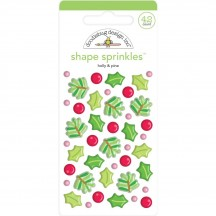 Doodlebug Christmas Magic Holly & Pine Sprinkles Glossy Enamel Shapes 6444
