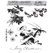 Tim Holtz Christmas Time Cling Mount Sets Collection from Stampers Anonymous - CMS141