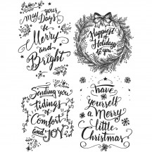Tim Holtz Doodle Greetings 1 Cling Mount Christmas Sets Collection from Stampers Anonymous - CMS285