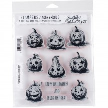 Stampers Anonymous Tim Holtz Pumpkinhead Cling Mount Stamp Set CMS309