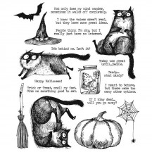 Stampers Anonymous Tim Holtz Snarky Cat Halloween Cling Mount Stamp Set CMS407